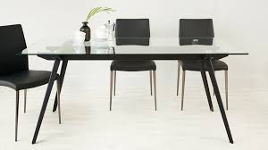 glass table black legs 6 8 seater glass dining table black powder coated legs