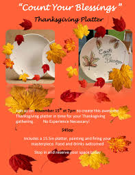 count your blessings thanksgiving platter pottery painting