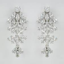 clip on bridal earrings waterfall cz chandelier earrings