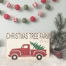 christmas tree farm vintage truck wood sign vintage