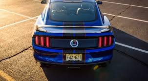 Blue Mustang Black Stripes Motm Lightning Blue Roushcharged 2017 Mustang Gt 2015 Mustang