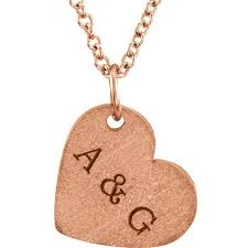 Customized Heart Necklace 14k Gold Engravable Heart Necklace