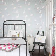 child u0027s room with flamingo wallpaper traditional children u0027s