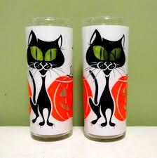 halloween drinking glasses black cat drinking glasses vintage 1960 u0027s halloween from