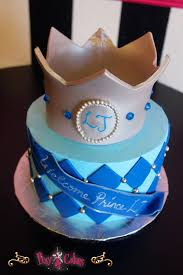 baby shower cakes for a boy baby shower cake boy blue silver crown diamonds 1 tier pixy cakes