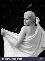 1930 S Bathroom 1930s Smiling Blonde Woman After Bath Drying Back With Bathroom
