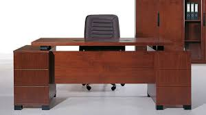 ford executive modern desk with filing cabinets light wood