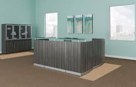 Gray Reception Desk Mayline Medina L Shape Reception Station