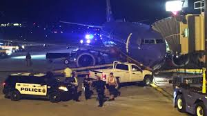 police truck police man in his boxers rams truck into plane abc13 com
