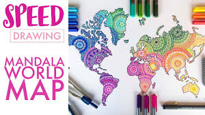 world map image drawing speed drawing mandala world map in colour