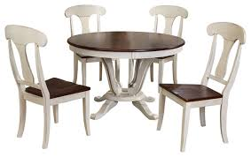 Napoleon Antique Oak Piece Dining Set  Round Pedestal Dining - Round pedestal dining table in antique white