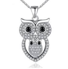 necklace with owl pendant images Una platinum plated owl pendant necklace JPG