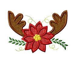 christmas applique antlers and poinsettia appliqué embroidery design poinsettia