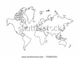 world map outline graphic freehand drawing stock vector 722845321