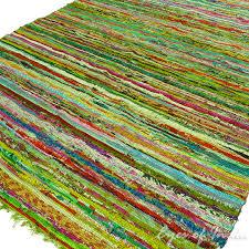 green colorful decorative chindi woven boho bohemian rag rug 3 5