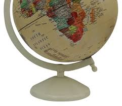 large decorative rotating globe world geography beige ocean earth