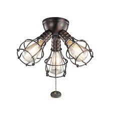 Kichler Ceiling Fans With Lights Kichler 370041obb Industrial Fan Light Kit In Brushed Bronze