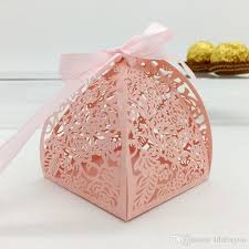 decorative wrapping paper wedding favor candy box mini laser engraved gift box party favors