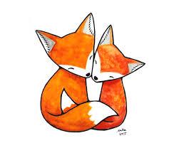 fox illustration print fox art print fox couple love