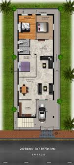 building plans homes free free plans 260 sq yds 30x78 sq ft east house 3bhk