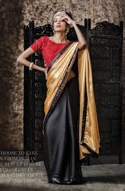 buy chiffon sarees online from india black u0026 gold satin chiffon saree