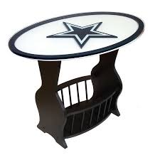 shop fan creations dallas cowboys black oval end table at lowes com