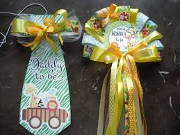 baby shower jungle safari mommy to be corsage and daddy to be tie