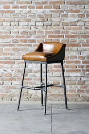 Industrial Bar Stool With Back Bar Stool With Upholstered Leather Low Camel Back Seat Over