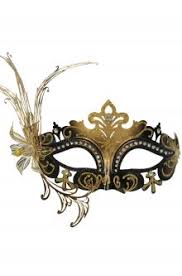 black and gold masquerade masks laser cut metal masks purecostumes