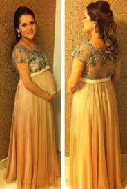popular empire short sleeve long maternity dress chiffon lace belt