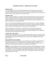 surgery informed consent form template consent form pinterest