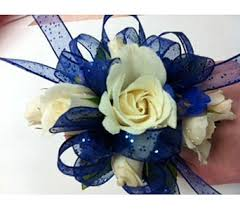 royal blue corsage royal blue white corsage in teaneck nj teaneck flower shop