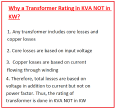 power factor for lighting load why do we use kva instead of kw to rate alternators and transformers