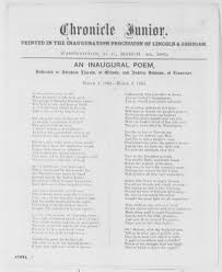 plan paper to write on lincoln s reconstruction plan the gilder lehrman institute of an inaugural poem dedicated to