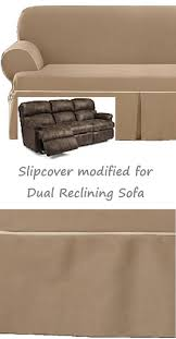 dual reclining sofa slipcover farmhouse twill taupe adapted for