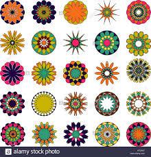 colored mandala set oriental round ornament asian design