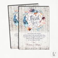 Thank You Cards For Baby Shower Gifts - boho thank you card rustic feather baby shower printable