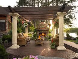 gorgeous patio with pergola fireplace