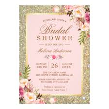 bridal shower invites blush and gold bridal shower invitations announcements zazzle