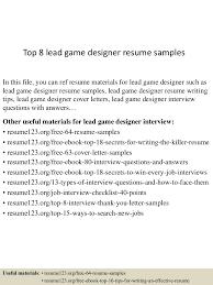 Design Resume Sample Top8leadgamedesignerresumesamples 150601110549 Lva1 App6892 Thumbnail 4 Jpg Cb U003d1433156796