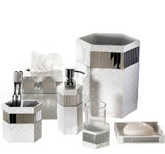Gray Bathroom Accessories Set by Creative Scents Quilted Mirror 6 Piece Bathroom Accessory Set