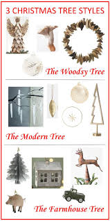 3 trees designed with themes woodsy modern and