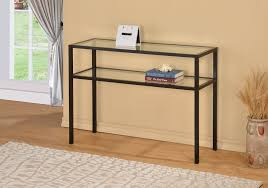 Metal Console Table Black Metal Glass Accent Sofa Console Table With Shelf
