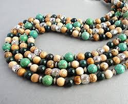 Handcrafted Handmade Semiprecious Gemstone Beaded Mens Natural Stone Beaded Necklace 18 20 22 Inch Green