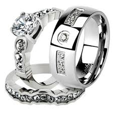 his and hers wedding ring sets st974 arti4317 his 3 stainless steel bridal ring set