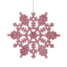 club pack of 24 mauve pink glitter snowflake ornaments 4