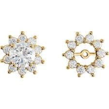 diamond earring jackets 14k yellow gold 75 carat diamond earring jackets