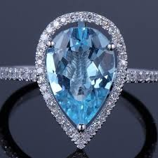 topaz gemstone rings images Buy 4 00 cttw genuine blue topaz gemstone pear cut ring by yeidid jpg