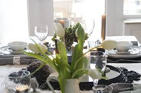 black and white table settings table decoration in black and white