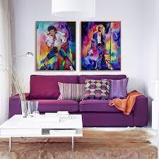 movie home decor 2pcs frameless movie star michael jackson canvas painting home